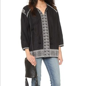 Madewell Camelia Embroidered Tunic in Black